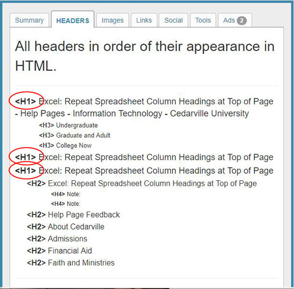 image showing 3 H1 tags in page metadata